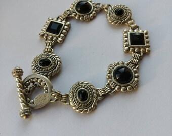 Vintage Panel Bracelet - Toggle Clasp - Link Bracelet - Black and Silver - Gift for Her