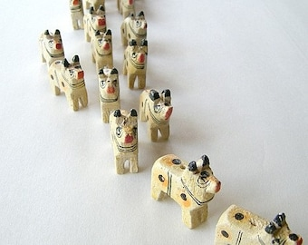 Wooden Oxen Beads - Ten (10) White - Carved - Ox