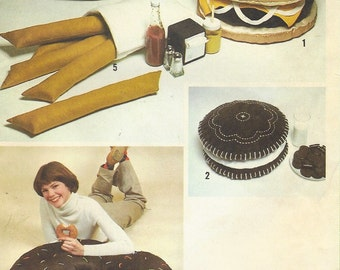1970s Junk Food Pillow Package Hamburger Pillow Hot Dog Pillow Donut Pillow Simplicity Sewing Pattern 8643 UnCut Oreo Cookie Pillow