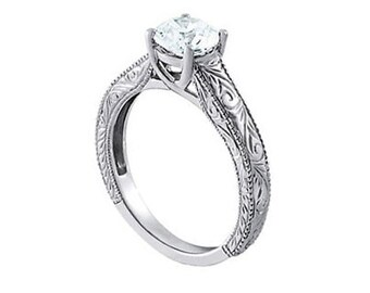 1 Ct 6.5mm Forever Brilliant Moissanite  Solid 14k white gold Antique Engraved TRELLIS Style Engagement Ring- Ov61761