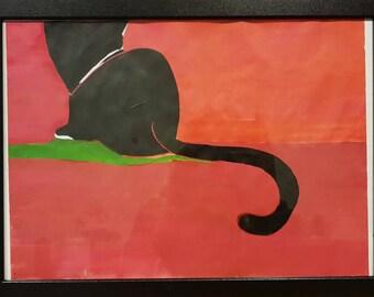 Black Cat drawing Original Acrylic A3 | Black Cat Acrilic Original Drawing A3