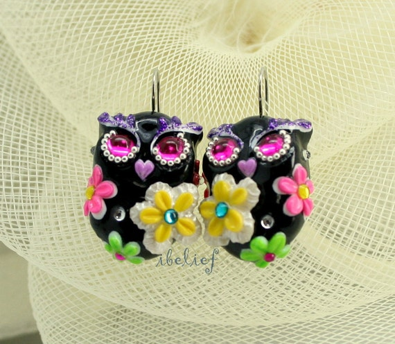 OWL NIGHT of handmade is flower on black owl earrings EW0005