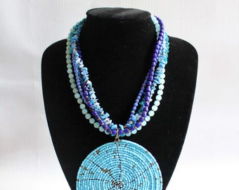 African jewelry-Beaded necklace-African beaded necklace-Statement necklace-Tribal necklace-Boho necklace-Bib necklace-Boho jewelry