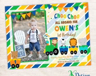 Choo Choo Train Birthday Invitation,  Boys Birthday Invitation