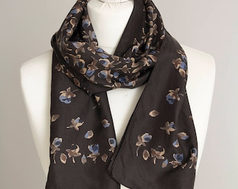 """vintage long scarf, floral scarf, rectangle scarf, polyester scarf, women scarf shawl 32x152cm / 12x60"""" brown beige"""
