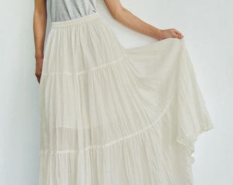 NO.5 Cream Cotton Gauze, Hippie Gypsy Boho Tiered Long Peasant Skirt