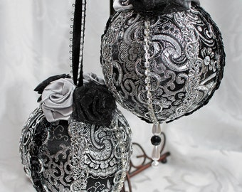 Brocade Gift Ornaments, Victorian Style Ornaments, Black and Silver Holiday Ornaments, Set of Two