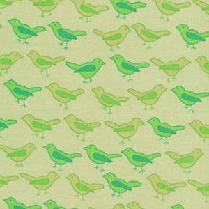 76010 -  Free Spirit Valori Wells Nest Birds in Lime  color - 1/2 yard