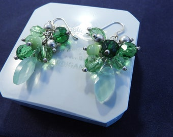 """Unique silver and green earrings - 925 - sterling silver - 1.75"""" drop - g"""