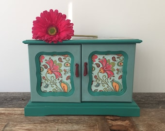 Vintage Wood Jewelry Box, Hand Painted, Teal, Aqua, Gold, Flowers, Gift for Her, Music Box, Storage, Unique, Renewed