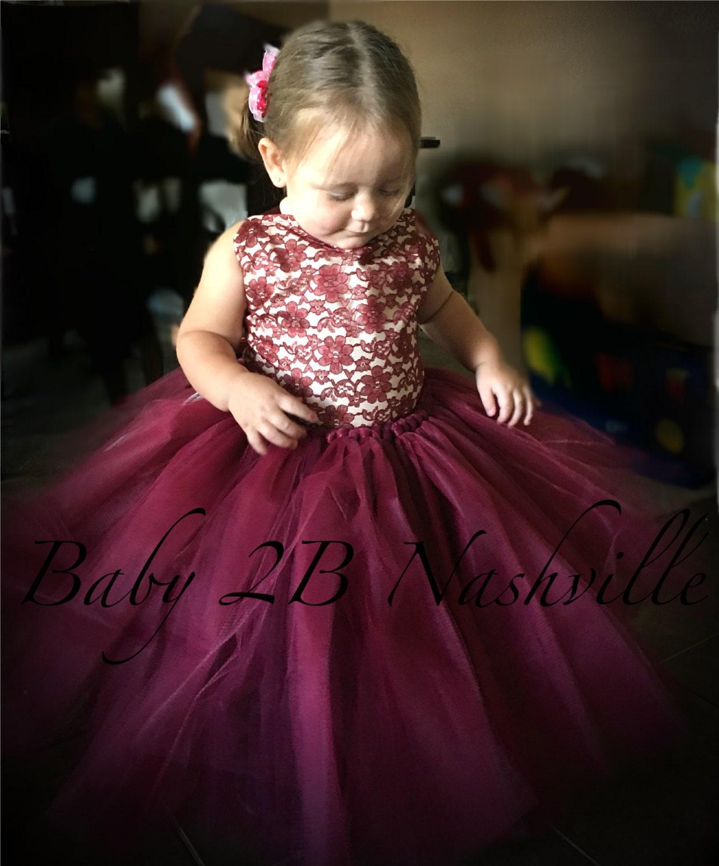 Wine Lace Flower Girl Dress, Wedding Flower Girl Dress, Wine Tutu ...