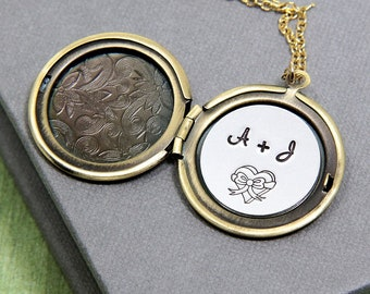 Initial Necklace, Personalized Necklace, Personalized Locket, Locket Necklace, Personalized Jewelry, Gift for Women, Anniversary Necklace