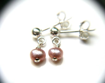 Dropped Small Pearl Earrings . Pink Pearl Studs . Silver Post Earring . Pearl Post Earrings Dangle . Tiny Pink Posts