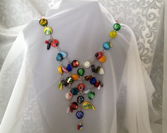 Bib Statement Necklace in Trendy Candy Colors