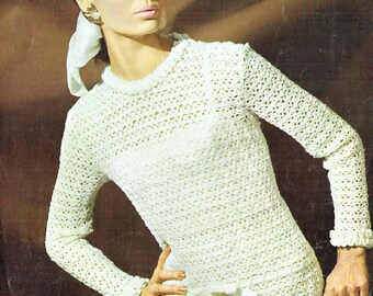 9504P Ladies  jumper  crochet vintage pattern PDF instant download