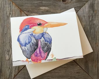 Oriental Dwarf Kingfisher Watercolor Species Cards, Prints, Giclee Canvas Wraps