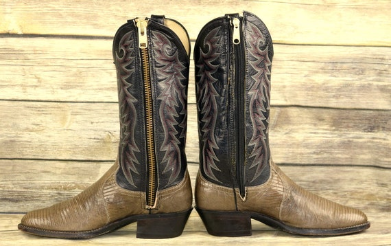 Leather Western Black Dan Post Boots 8 Mens Zippers Grey Size D Cowboy Lizard wqxfRaYx
