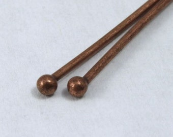 Antique Copper 2 inch Head Pin with Ball  HPD016