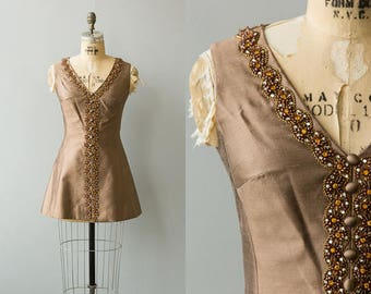 Sultana tunic   Vintage 1960s brown silk blouse with beading