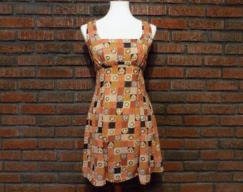 Vintage 90s Sheer Poly Empire Waist Sun Style Dress Women's S