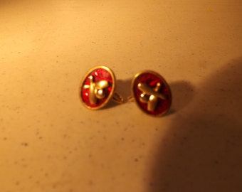Unique and Rare Gold Filled Screw On Bowling Earrings