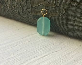 Glass pendant, Aqua Faceted Glass Beaded Pendant- aqua charm- 14k gold fill wire wrapped charm
