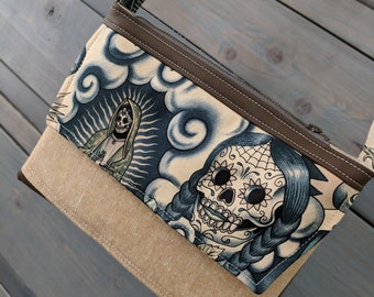 Sugar Skull Blue Tattoo SMALL Emma Traverse Contigo Guadalupe Cross Body Purse