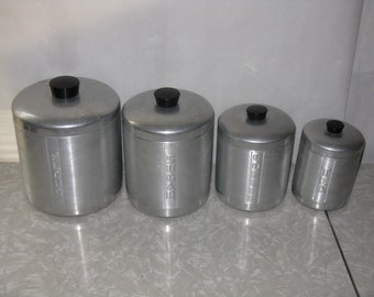 Mid Century Modern aluminum canister set