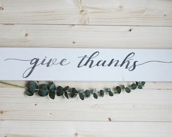 Give thanks sign, wood sign, barnwood sign, wall decor, home decor, thankful, brush script