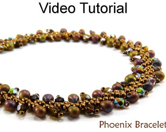 St. Petersburg Stitch Bracelet Video Tutorial Pattern Beaded Bracelet Beading Jewelry Making Stitch Instructions Direction Beads #9566