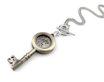 Clockpunk Key Pendant - Skeleton Key Pendant - Steampunk Key Necklace - Watch Key Pendant - Clock Parts Key Pendant - Clockpunk Pendant