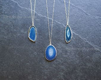 Agate Necklace / Silver Druzy Necklace / Geode Necklace / Druze Necklace / Agate Pendant / Agate Jewelry / Mother's Day Gift / Gift for Mom