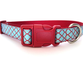 Red and Teal Quartrefoil Dog Collar - Adjustable, quarterfoil, aqua