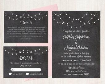 Chalkboard Wedding Invitation, String Lights Wedding Invitation, Chalkboard Wedding Invitation Set, Wedding Invitation, Country Wedding