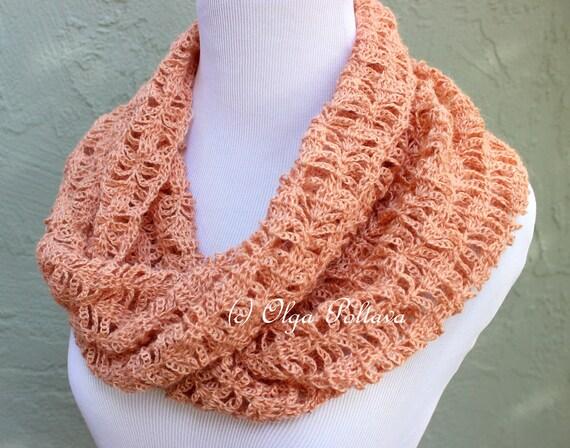 Peach Lace Infinity Scarf Crochet Pattern Crochet Scarf Easy