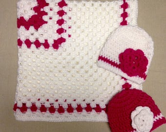 Crochet Baby Blanket And Hats Set of Two For Newborns