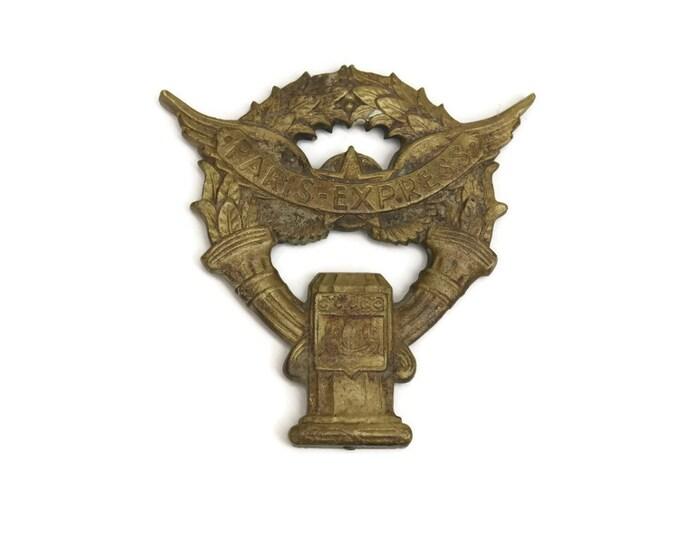Antique Bronze Hood Ornament. Art Deco Paris Express Car Mascot. Radiator Cap. Antique Wreath French Bronze Ornament.