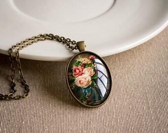 Rose pendant, Glass cabochon necklace, Bronze necklace, Picture necklace, Victorian necklace, Oval necklace, Vintage pendant, Art gift