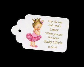 Mini Champagne Bottle Tags for Baby Shower, Personalized, Wine Bottle Tags, Bottle Tags, Baby Shower Favor Tags, Princess