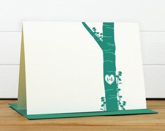 Custom Stationery / Custom Stationary - 4-EVER Custom Note Card Set - Couples Engagement Wedding Thank You