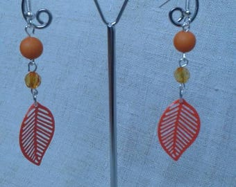 orange small leaf earrings