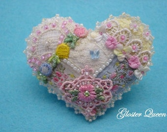 Crazy Quilt heart pin with soft and dainty vintage French trims.