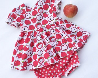 READY TO SHIP Baby Girl dress - Baby Girl Clothes - Apple Girl dress - Baby Girl Outfit - Toddler dress - Girls first birthday outfit