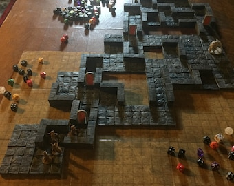 MASSIVE set of 52 painted dungeon tiles modular DnD Dungeons and Dragons RPG PathfinderRPG tabletop gaming