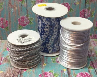 Lot of 3 spools of Cording Trim Beading Jewelry Making supply Blue White Silver Rope Necklace Bead Making Sewing Trim Notions Crochet Trim