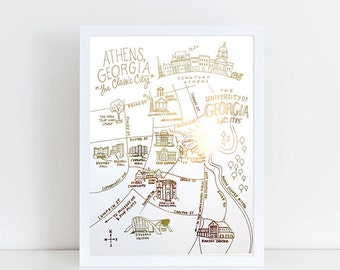 Gold Foil UGA Campus Map Athens, Georgia Art Print
