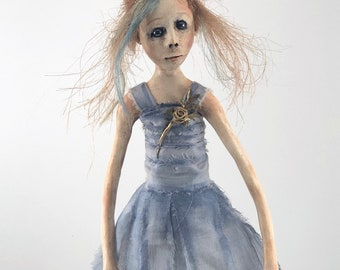 Figurative Sculpture clay wood painted folk art doll prom queen Betty Ann