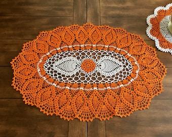 Fall Lace Doily - Pumpkin Table Doily - Pineapple Crochet Doily - Farmhouse Decor - Wedding Gift - Coffee Table Decor - Housewarming Gift