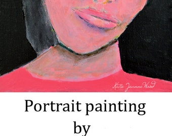 Art on Sale. Acrylic Woman Portrait Painting. Original Art. Woman Wall Art. Original Home Wall Decor.