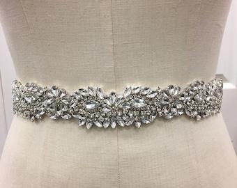 Sparkle bridal belt with ribbon sash - Wedding dress belt, bridal belt accessory, rhinestone crystal belt, wedding sash, bridesmaids belt